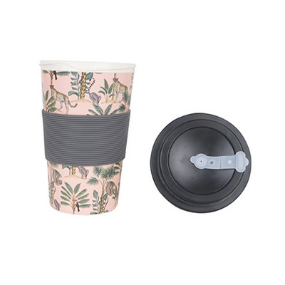 400ml Reusable Bamboo Coffee Cup with Screw Lid