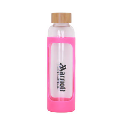 550ml Glass Drink Bottle With Bamboo Lid - (printed with 1 colour(s)) PCD056_PC