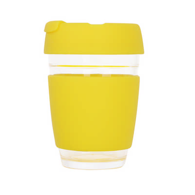 12 OZ Flip Top Glass Coffee Cup