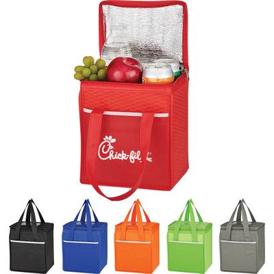 Wave Design Non-woven Cooler Lunch Bag - (printed with 1 colour(s)) PH3560_blk_PS