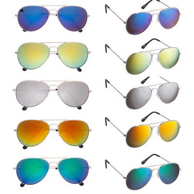 Colour Mirrored Aviator Sunglasses