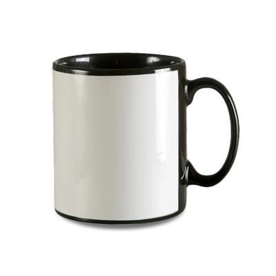 Sublimated 444ml Mighty Black With White Panel Mug