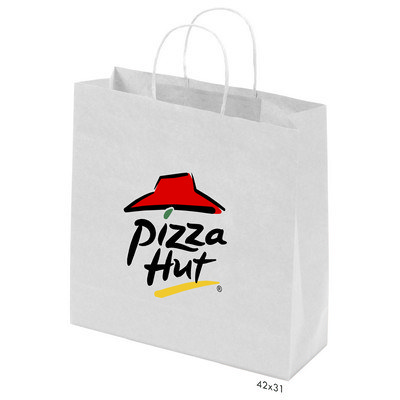 Kraft Paper Bag White Large Includes Twisted Paper Handle - (printed with 1 colour(s)) PS4602_L_PS