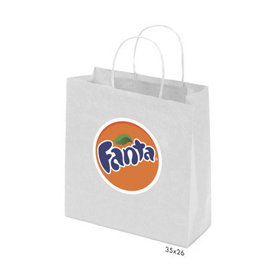 Kraft Paper Bag White Medium Includes Twisted Paper Handle - (printed with 1 colour(s)) PS4602_M_PS