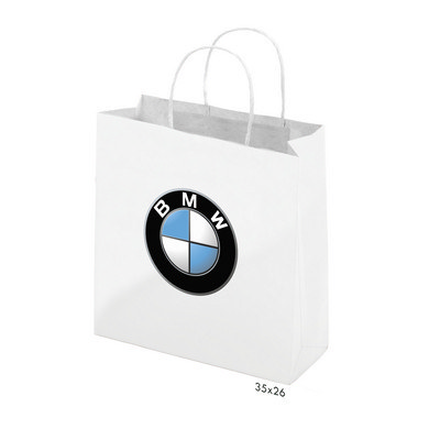 Gloss Laminated Bag White Portrait With Rope Handle - (printed with 1 colour(s)) PS4603_P_PS