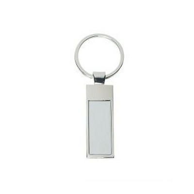 Rectangle shiny metal keyring with matte silver insert (PS8305_PS)