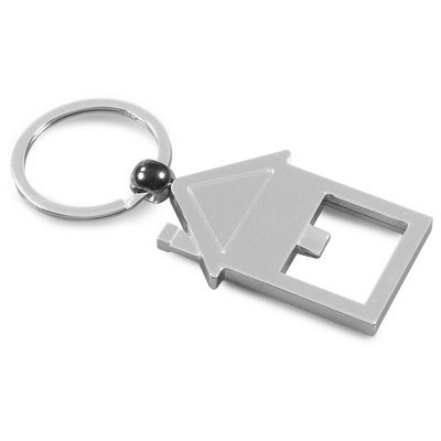 Shiny metal house-shaped keyring (PS8301_PS)