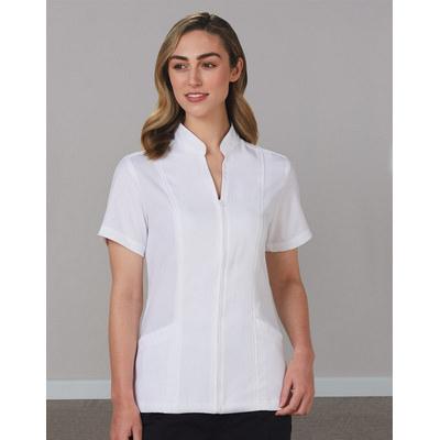 WomenS Full Zip Front Short Sleeve Tunic