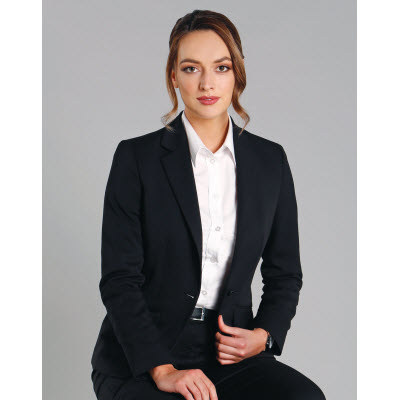 Ladies Wool Blend Stretch One Button Cropped Jacket