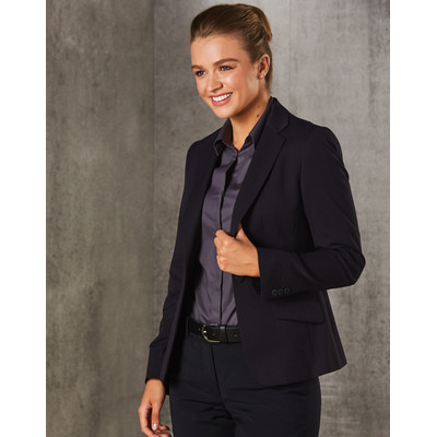 WomenS PolyViscose Stretch One Button Cropped Jacket