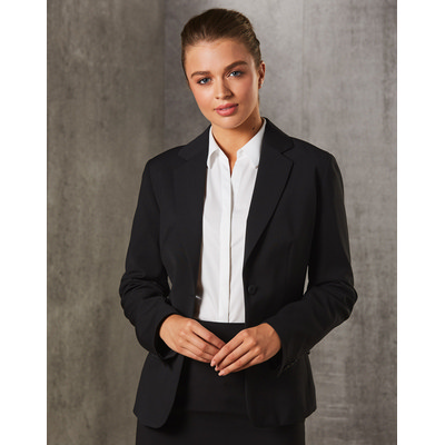 WomenS PolyViscose Stretch Stripe One Button Cropped Jacket