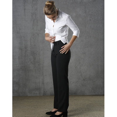 Ladies PolyViscose Stretch Stripe Low Rise Pants