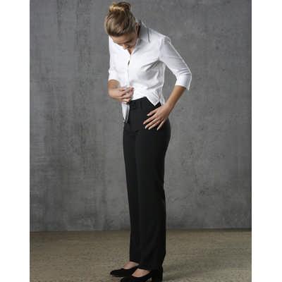 Women PolyViscose Stretch Stripe Low Rise Pants