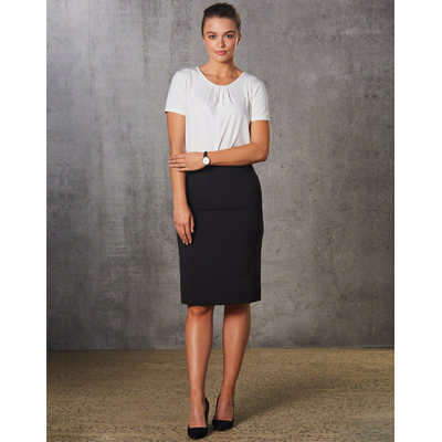 Women PolyViscose Stretch Stripe Mid Length Lined Pencil Skirt