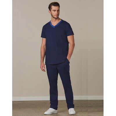 Mens Semi-Elastic Waist Tie Solid Colour Scrub Pants