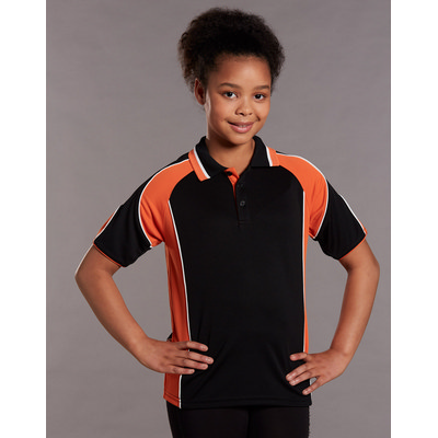 Kids CoolDry Contrast Short Sleeve Polo with Sleeve Panels