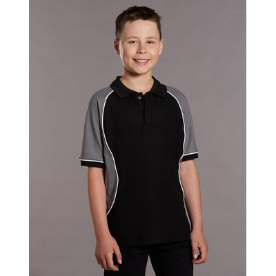 Kids TrueDry Tri-colour Short Sleeve Pique Polo