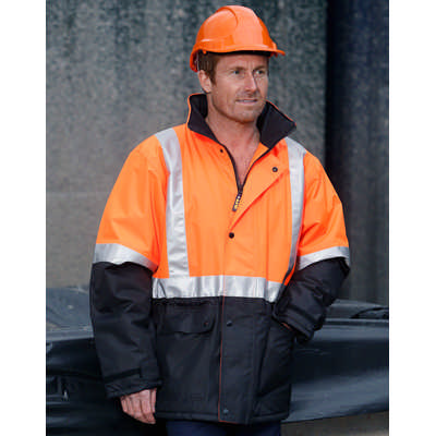 Hi-Vis Two Tone Rain Proof Jacket With Quilt Lining