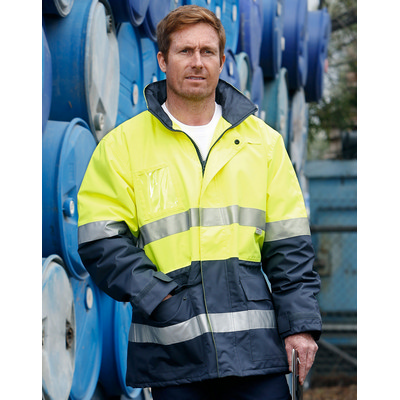 Hi-Vis Long Line Safety Jacket With Polar Fleece Lining and 3M Reflective Tapes