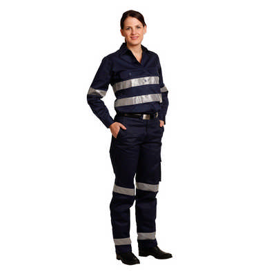 Ladies Heavy Cotton Drill Cargo Pants With Biomotion 3M Tapes