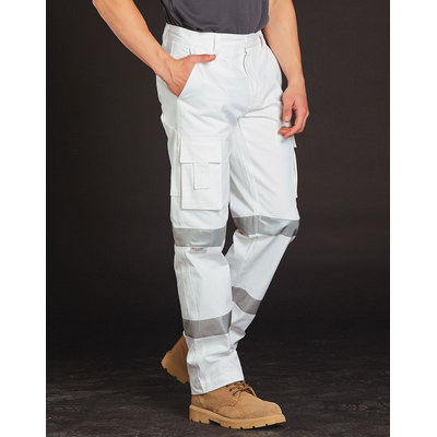 Mens White Safety Pants With Biomotion Tape Configuration