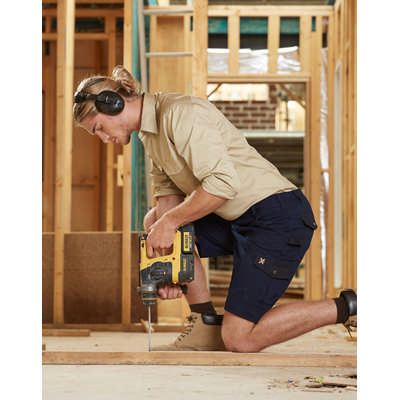 Mens Stretch Cargo Work Shorts With Design Panel Treatments