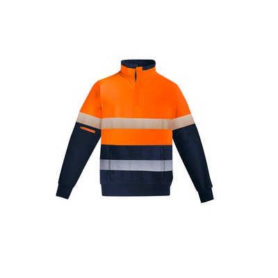Mens Orange Flame HRC 2 Hoop Taped 14 Zip Brushed Fleece